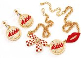Avalaya Gold Plated Kiss, Lips and Bow Costume Jewellery Set