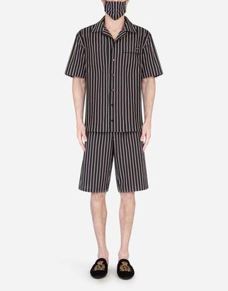 Dolce & Gabbana Pin-Stripe Pajama Set With Matching Face Mask