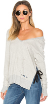 Pam & Gela V-Neck Side Slit Sweatshirt