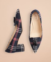 Brooks Brothers Plaid Point-Toe Block-Heel Pumps