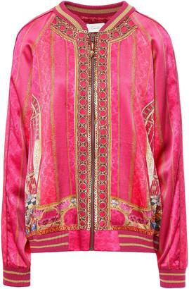 Camilla Embellished Silk-satin Bomber Jacket