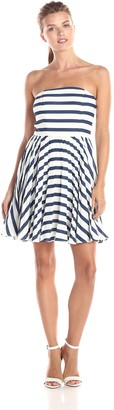BB Dakota Women's Aleta Stripe Straples Fit and Flare Dress