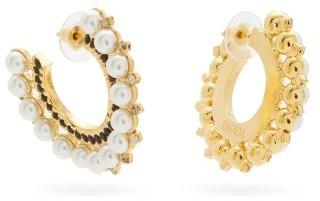 Erdem Faux-pearl And Crystal-embellished Hoop Earrings - Pearl