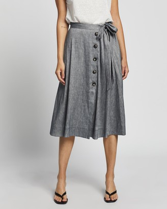 David Lawrence Women's Blue Midi Skirts - Spencer Linen Wrap Skirt - Size One Size, 6 at The Iconic