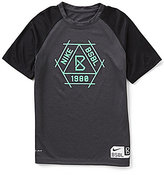 Nike Big Boys 8-20 Dri-FIT Legend BSBL Color Block Raglan-Short-Sleeve Tee