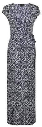 Dorothy Perkins Womens Navy Floral Print Wrap Maxi Dress
