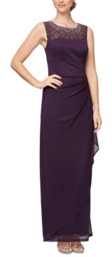 Alex Evenings Petite Embellished Illusion Gown