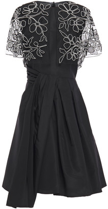 Carolina Herrera Pleated Embellished Tulle And Silk-taffeta Dress