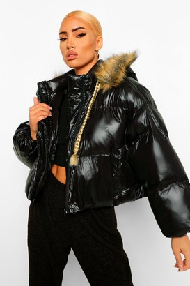 boohoo Faux Fur Trim Hooded Puffer Jacket