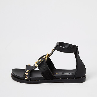 River Island Black leather studded ankle gladiator sandals