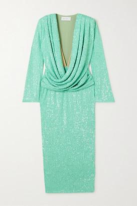 NERVI - Haley Draped Sequined Stretch-georgette Midi Dress - Mint