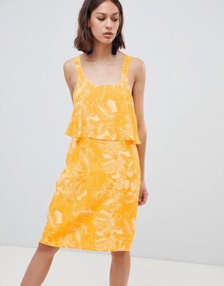 Ichi Floral Overlay Dress-Yellow