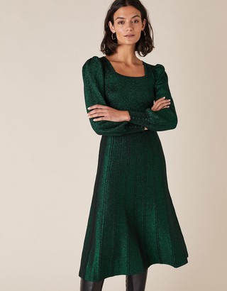 Monsoon Square Neck Metallic Knit Dress Green