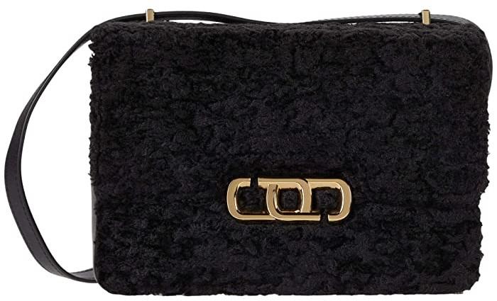 Marc Jacobs The J Link Faux Fur Shoulder Bag (Black) Shoulder Handbags