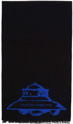 Valentino Black and Blue Garavani Undercover Edition Wool UFO Scarf