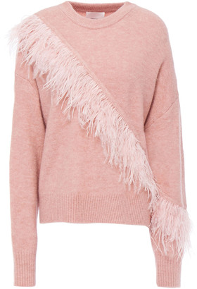 Cinq à Sept Feather-embellished Wool-blend Sweater