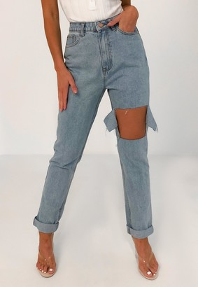 Missguided Light Blue Wrath Blast Knee Distressed Jeans