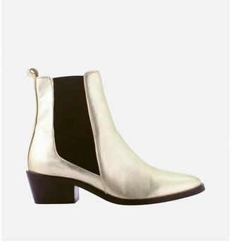 Cosmo Paris Finato Metallic Leather Chelsea Ankle Boots