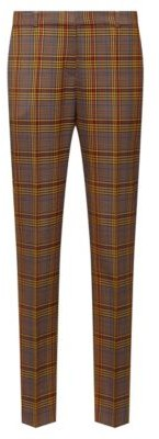 HUGO BOSS Regular-fit trousers in mixed-check fabric