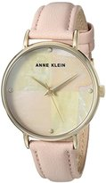 Anne Klein Women's Quartz Metal and Leather Dress Watch, Color:Pink (Model: AK/2790PMPK)