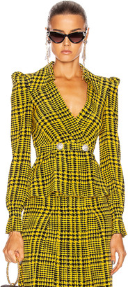 Alessandra Rich Printed Silk Blouse in Yellow & Black | FWRD