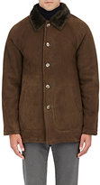 Barneys New York MEN'S SUEDE & SHEARLING CAR COAT-DARK GREEN SIZE S