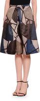 Piazza Sempione Delaunay-Print High-Waist A-Line Skirt, Navy