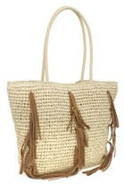 Magid Straw Tote With Fringe Detail.