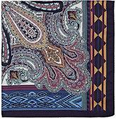 Etro Men's Paisley & Geometric-Print Silk Twill Pocket Square-BLUE