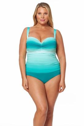 Bleu Rod Beattie Bleu | Rod Beattie Women's Plus Size Shirred Bandeau One-Piece Swimsuit Bathing Suit