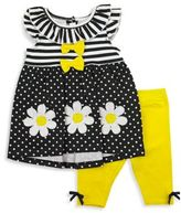 Nannette Baby® Size 6-9M 2-Piece Daisy Dress and Legging Set in Black/Yellow