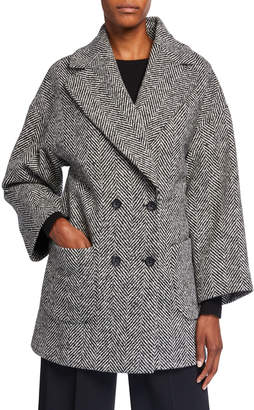 RED Valentino Macro Wool Chevron Double-Breasted Coat