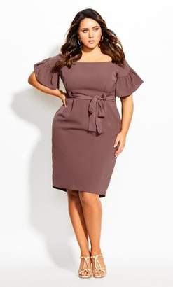 City Chic Dainty Sleeve Dress - nutmeg