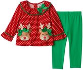 Rare Editions Baby Girl Reindeer Top & Leggings Set