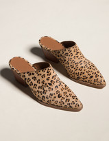 Coconuts Camelot Womens Leopard Stacked Heel Mules