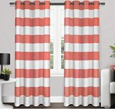 2 Piece 84 Inch Coral White Rugby Stripes Curtains Pair Panel Set, Pink Color Drapes Cabana Striped Pattern Window Treatments, Nautical Sports Themed Horizontal Lines Design, Kids Teen Polyester