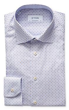 Eton Contemporary Fit Mosaic Tile Micro Print Poplin Dress Shirt