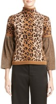 Loewe Women's Chenille Sleeve Leopard Jacquard Sweater