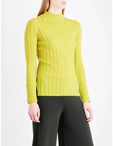 Theory High neck ribbed-knit wool jumper