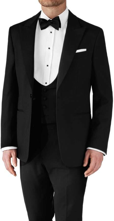 Charles Tyrwhitt Black Classic Fit Peak Lapel Tuxedo Wool Jacket Size 38