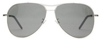 Saint Laurent Engraved-bridge Aviator Metal Sunglasses - Black Silver