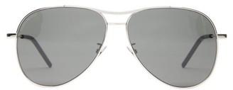 Saint Laurent Engraved-bridge Aviator Metal Sunglasses - Womens - Black Silver
