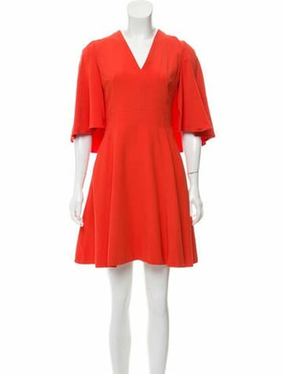 Alexander McQueen V-Neck Mini Dress Orange