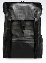 Emporio Armani Large Croc Print Calfskin Backpack