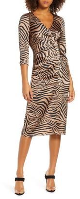 Foxiedox Billie Zebra Print Body-Con Dress