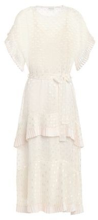 Zimmermann Tiered Polka-dot Satin Devore Midi Dress