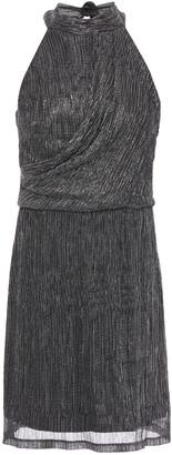 Halston Draped Metallic Stretch-jersey Mini Dress