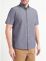 John Lewis Fine Stripe Dobby Short Sleeve Shirt, Navy