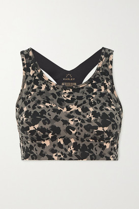 Varley Bassett Leopard-print Stretch Sports Bra - Black