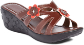 Pandora Brown Wendy Floral-Accent Wedge Sandal